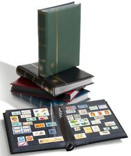 Lighthouse Premium Leather Stockbook 9 x 12 64 Black Pages Blue Fancy New Album