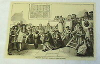 1882 magazine engraving ~ WEARING HATS AT WORSHIP -- THE QUAKERS