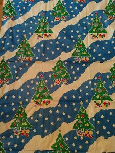 Vintage Christmas Flannel Backed Vinyl Tablecloth-Blue & White w/ Christmas Tree