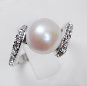 Genuine Natural white Akoya cultured pearl ring AAA Grade Size:7 8 9 /A01