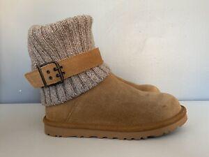 UGG Australia Cambridge Knit Suede Boots Chestnut Brown Womens Size 6