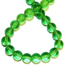 "G316j Green Quartz 8mm Round Reconstituted Gemstone Crystal Glass Beads 16"""
