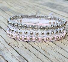 Beaded Bracelet Set , Adjustable cord Macrame Bracelets, Boho Bracelet