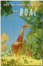 """Vintage Illustrated travel Poster CANVAS PRINT ~ Africa BOAC Giraffe 8""""X 12"""""""