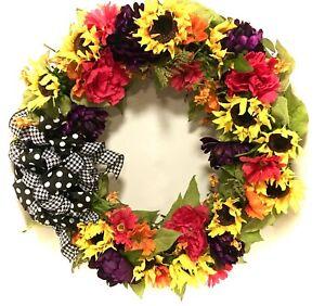 "FREE SHIP XL Spring Wreath Large Outdoor All Season Tuscan 30"" Peony Sunflower"