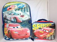 Disney Cars Lightning McQueen Boys School Backpack Lunch Box Book Bag Set KIDS