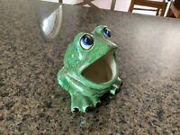 1970s Ceramic Green Frog Scrubby Holder Vintage