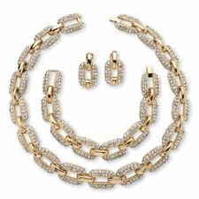 PalmBeach Jewelry Crystal Gold Tone Link Necklace Bracelet and Earrings Set
