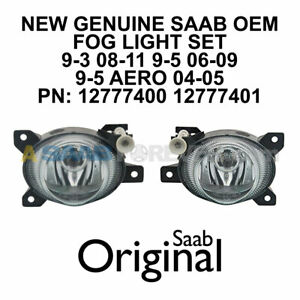 SAAB FOG LIGHT PAIR 9-3 08-11 9-5 04-09 AERO NEW GENUINE OEM 12777400 12777401