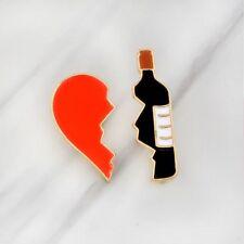Broken Heart Wine Bottle Alloy Fashion Jewelry Badge Pin Enamel Brooch