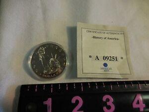 """2000 Republic of Liberia """"STATUE OF LIBERTY"""" 5 Dollar Coin  w/ coa"""