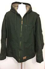 C E Schmidt Sherpa Fleece Lined Canvas Work Hooded Jacket Coat Olive  2XL 52-54