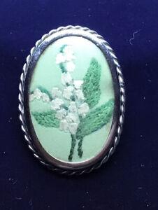 Vintage Hand Embroidered Snowdrop Brooch