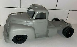 """Vintage Marx 1950-60s Gray Soft Plastic Tractor Trailer Cab Only 10"""" Long"""