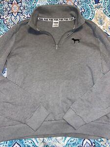 Victoria's Secret PINK 1/4 Quarter Zip Black & Grey Pullover Sweatshirt Large