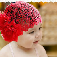 Cute  Baby Girl Toddler Flower Lace Headband Hair Band Headwear Beanie Hat