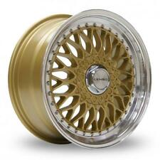 "15"" LENSO BSX GOLD MIRROR LIP ALLOY WHEELS ONLY BRAND NEW 4X114.3 ET20 RIMS"