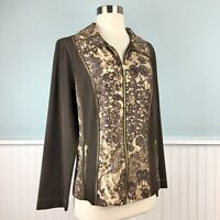 Size 1 Zenergy By Chico's Brown Paisley Zip Up Jacket Top Womens Chicos Medium M