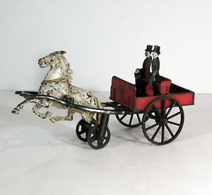 ca1883 CAST IRON HORSE DRAWN DOCTORS WAGON BY CARPENTER IN ORIGINAL PAINT