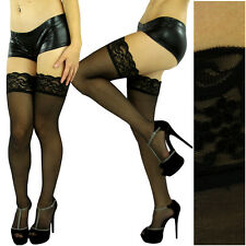 ***REDUCED*** Black Lace-Top Thigh-High Hold-Up Stockings