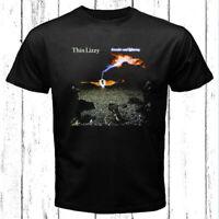 Thin Lizzy Thunder and Lightning Rock Band Logo Men's Black T-Shirt Size S-3XL