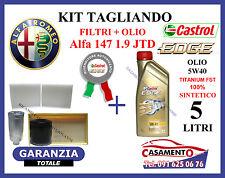 KIT TAGLIANDO FILTRI + OLIO CASTROL EDGE TITANIUM 5W40 5LT ALFA 147 1.9 JTD