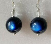 Sterling Silver Blue Vintage Moonglow Lucite Ball Bead 925 Drop Dangle Earrings