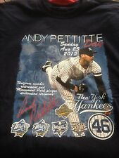 NY YANKEES ANDY PETTITTE DAY T SHIRT XL 2015 RETIRED # MONUMENT PARK WORLD SERIE
