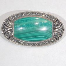Vintage Sterling silver malachite marcasite oval Art Deco style pin/brooch 925