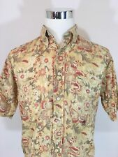 VTG Tommy Hillfiger Hawaiian Beach Yellow Floral Men's Shirt Short Sleeve Sz M