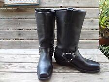 Frye Harness 12R Womens Black Leather Biker Boots  77300 Size 8.5 medium