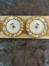 "New listing 2 Dinner Plates Melamine Yellow Bumble Bee Bamboo 11"" Rachel Ashwell Farmhouse"