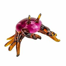 "5"" Handmade Art Blown Glass Collectible Miniature Crab Figurine"