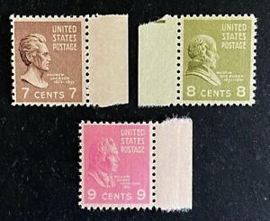 US Stamps, Scott #812-14 singles set 1938 Pres Issue VF to VF/XF M/NH