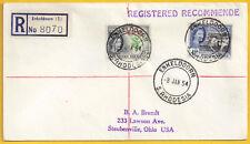 Southern Rhodesia 1953 4d +4.1/2d sg 82-3 ENKELDOORN 8 Jan 1954 to USA