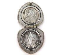 .SUPERB DECORATIVE FRENCH CASE / 1830 VIRGIN MARY MIRACLE & JESUS PURSE LOCKET.