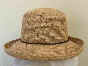 CALLANAN * LADIES CROCHETED RAFFIA STRAW HAT * NEW CRUSHABLE PACKABLE SUN SHADY