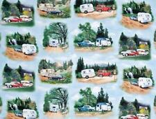 Retro - Vintage Caravans -Cars- Caravan Camping -Blue - Fabric -per 1/2 Yd