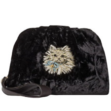 Kate Spade Women's Cat Black Velvet Leather Trim Clutch Wristlet Shoulder Bag