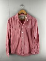Country Road Men's Long Sleeved Button Up Shirt Size S Red Check