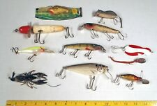 11 Old Wood Fly Fishing Lures, Spinner, HEDDON MEADOW MOUSE, RIVER RUNT & POE's