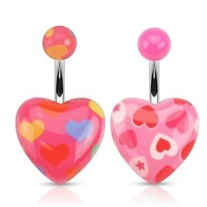 CUTE PINK HEARTS ACRYLIC PRINTS BELLY NAVEL RING BUTTON PIERCING JEWELRY B747