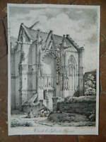 gravure Vue de l'église de Parnes, par Villeneuve 1819 - à Paris, chez Delpech
