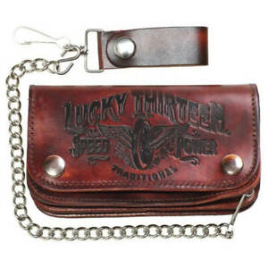 Lucky 13  Brown Traditional Speed Leather Chain Wallet Kustom Kulture Rockabilly