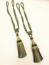2 Prince Green & Gold Curtain Tassel Tiebacks Tie Backs  PAIR Cord Cable Fabric