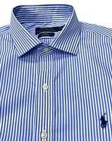 Polo Ralph Lauren Men's Slim Fit PUREPRESS Stripe Shirt In Blue/White In Size S