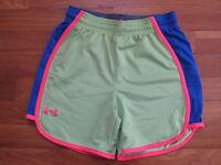 Under Armour girls athletic SHORTS loose UA run green blue pink YMD Y M medium