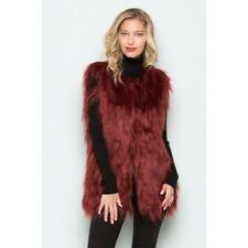 Boutique Burgundy Faux Fur Vest Shaggy Wine Fall Winter New