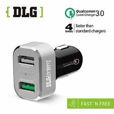 DLG  Car Charger QC3.0  30Wmax 2 USB ports For Samsung-Phone-HTC-LG AU STOCK