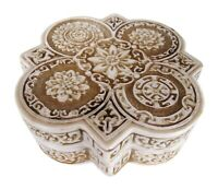 Floral Trinket Box w Lid Keepsake Jewelry Stash Resin Ornate Flower Sculpture 6""